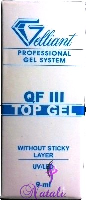 Gelliant Pro. Finish QF III gel  (sin capa pegajosa-without sticky layer) de 9 ml.